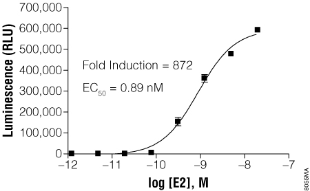 E2 titration of GloResponse 9XGAL4UAS-luc2P HEK293 cells transfected with pBIND-ER-alpha Vector.